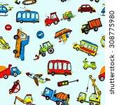 funny cars. kids seamless... | Shutterstock .eps vector #308775980