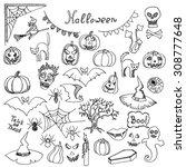 set of sketched doodle... | Shutterstock .eps vector #308777648