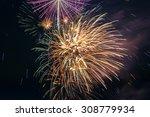 Blur Fireworks With Night Sky.