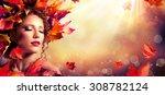 autumn fantasy girl   beauty... | Shutterstock . vector #308782124