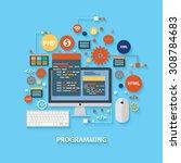 programming concept design on... | Shutterstock .eps vector #308784683