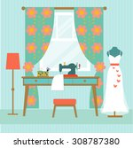 retro workplace seamstress with ... | Shutterstock .eps vector #308787380