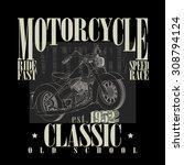 motorcycle racing emlem. old... | Shutterstock . vector #308794124