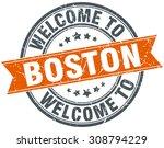 welcome to boston orange round... | Shutterstock .eps vector #308794229