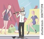 street musician playing near... | Shutterstock .eps vector #308797298