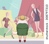 fat woman looking into fashion... | Shutterstock .eps vector #308797310