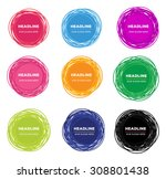 set of abstract doodle emblem... | Shutterstock .eps vector #308801438
