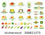 vector vegetables logo  label... | Shutterstock .eps vector #308821373