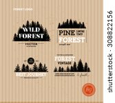 set of forest logo. hipster... | Shutterstock .eps vector #308822156