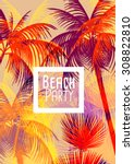 tropical background with palm... | Shutterstock .eps vector #308822810
