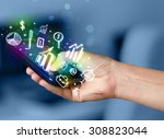 smartphone with finance and... | Shutterstock . vector #308823044