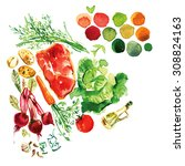 watercolor soup recipe with... | Shutterstock . vector #308824163