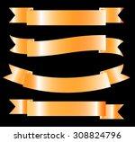 golden ribbon   vector design... | Shutterstock .eps vector #308824796