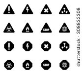 vector black danger icon set | Shutterstock .eps vector #308832308