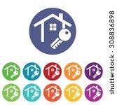 house key icons set  on colored ...