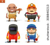 construction professions set 1 | Shutterstock .eps vector #308840213