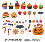 halloween party colorful sweets ... | Shutterstock .eps vector #308840408