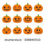 funny halloween pumpkins set... | Shutterstock .eps vector #308840510