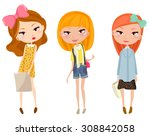 three happy young girls | Shutterstock .eps vector #308842058