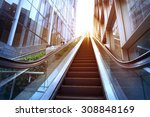 City outdoor escalator under the sun