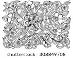 doodle flowers in black and... | Shutterstock .eps vector #308849708