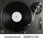 turntable playing vinyl close... | Shutterstock . vector #308851250