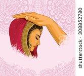 indian marriage | Shutterstock .eps vector #308852780