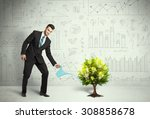 business man pouring water on... | Shutterstock . vector #308858678