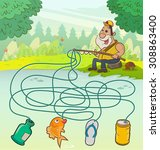 fisherman maze game  education... | Shutterstock .eps vector #308863400
