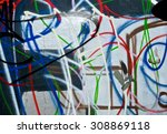 Small photo of Abstract spray painting graffiti wall colorful background. Random stroke line with spray. Rustic and grunge texture urban. Agitate, disturb and annoy. Close up.
