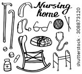 nursing home set. hand drawn... | Shutterstock .eps vector #308873120