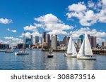 Boston Skyline Seen From Piers...