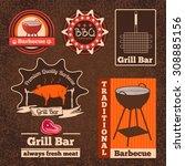 set of butchery logos  badges... | Shutterstock . vector #308885156