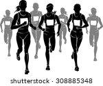 women marathon silhouette | Shutterstock .eps vector #308885348