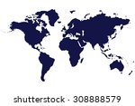 world map isolated on white... | Shutterstock . vector #308888579