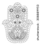 hand drawn henna abstract... | Shutterstock .eps vector #308889953