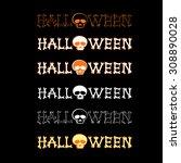 set vector halloween logo on... | Shutterstock .eps vector #308890028