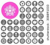 flower icons set. vector... | Shutterstock .eps vector #308891033