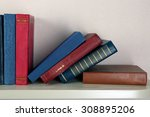 old books on shelf  close up ... | Shutterstock . vector #308895206