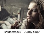 Small photo of Drug addiction. Young woman with drug addiction