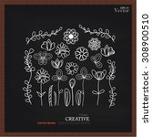 set of flower doodles on... | Shutterstock .eps vector #308900510