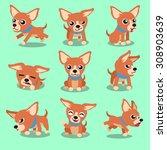 Stock vector cartoon character brown chihuahua dog poses 308903639