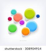 vector glossy plastic round... | Shutterstock .eps vector #308904914