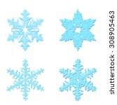 a set of four blue snowflakes... | Shutterstock .eps vector #308905463