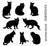 black cats silhouette set in... | Shutterstock .eps vector #308905493