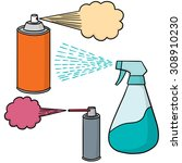 vector set of spray can and...   Shutterstock .eps vector #308910230