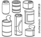 vector set of can | Shutterstock .eps vector #308910818