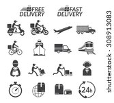 delivery monochrome icons set ... | Shutterstock .eps vector #308913083