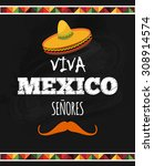 independence day of mexico.viva ... | Shutterstock .eps vector #308914574
