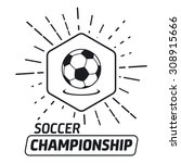 soccer label with sample text.... | Shutterstock .eps vector #308915666